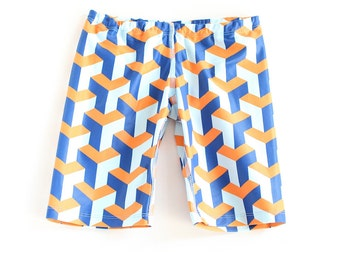 Boys Blue and orange geo pattern Swimming trunks, swim shorts