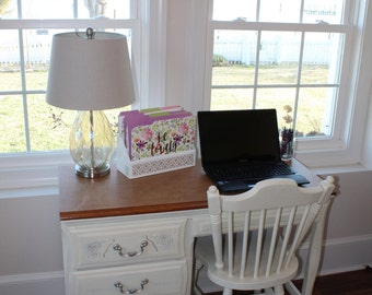 LOCAL PICK UP Solid wood girls desk/vanity-Painted with Annie Sloan Old White, Clear Wax Finish, Durable formica top, Chair included