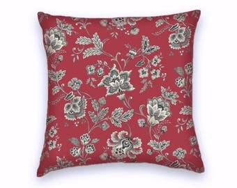 Dark Red Grey Contemporary Floral Decorative Pillow Cover- 18x18 or 20x20 or 22x22 Throw Pillow-Accent Pillow