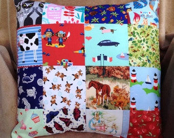"Novelty/Animal Patchwork Pillow/Cushion-Handmade I Spy Game Cotton 18"" Kids/Baby FREE UK POSTAGE"