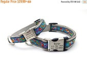 March Madness Sale VAN GOGH PAWS Dog Collar with Laser Engraved Personalized Buckle