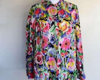 salvation armani vintage blouse - button-up watercolor top - vintage liz claiborne - long sleeve top - multi-color blouse - spring style