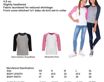 Choose Any Design on Youth Girls Raglan 3/4-Sleeve Baseball T-Shirt Birth pregnancy announcement - Made to Order