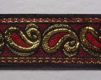 Jacquard Ribbon, 1+1/2 inch wide Black - Gold - Red selling by the yard