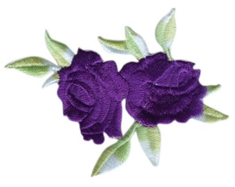 purple Rose Applique Patch Embroidered Iron on