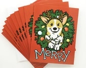 Set of 10 Merry Corgi Butt Christmas Lights Wreath Two-sided Holiday Greeting Card