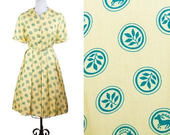1950s Dress // Deer Novelty Print Yellow Silk dress