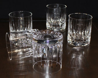Beautiful, Vintage, Set of 5, Vertical Teardrop Cut Crystal, Heavy Double Old Fashioned Glasses
