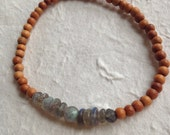 Delicate labradorite and sandalwood mala stretch bracelet
