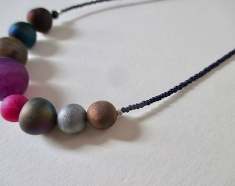 SALE Solar system necklace with druzy planets and even a tiny Pluto astronomy necklace science