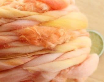 RESERVED Peach Tulip CURLS - Thick and Thin Handspun Merino Wool Yarn Blush Yellow
