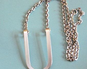 "Danecraft 925 Sterling Silver letter  ""U"" or Horseshoe Pendant 19"" Rolo Chain Necklace 20.6g"