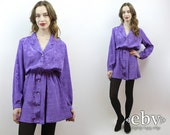 1980s Dress 80s Dress Secretary Dress Purple Dress 80s Mini Dress Longsleeve Dress Work Dress Day Dress M L