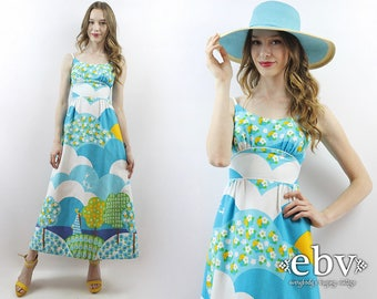 Novelty Print Dress Malia Honolulu 1970s Dress Vintage Sundress 70s Dress 70s Maxi Dress Hippie Dress Summer Dress Hippy Dress XXS