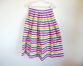 Vintage 50s Circle Skirt // High Waist Swing Skirt // Rockabilly // Striped Multi Color Full Circle Skirt // Wasp Waist // Small