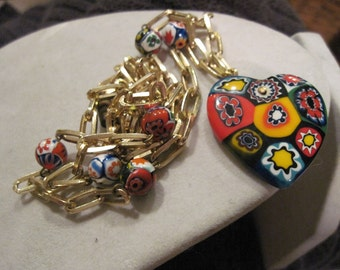 Vintage Millifiori Heart Necklace or Thousand Flowers Heart Necklace