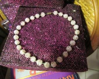 Vintage Gold & White Venetian Foil Glass Necklace