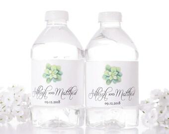Vintage Wedding Water Bottle Labels - Rustic Wedding Bottle Labels - Succulent Design Water Bottle Stickers - Waterproof - #wdiW-250