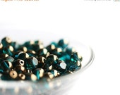 ON SALE Dark teal beads, Czech glass, teal green beads with luster, round cut, spacers, fire polished - 6mm - 30pc - 0059