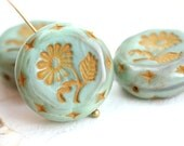 22mm Sage Green Flower Focal bead, Ocher Yellorw, Czech glass Round tablet floral ornament beads, mixed color - 1pc - 1816
