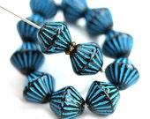 Black bicones, Blue stripes, czech Glass jet black beads, large pressed beads - 11mm - 10pc - 2896