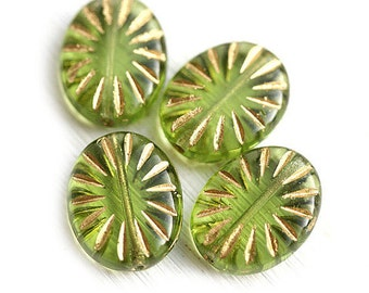 Large oval beads - Green and Gold rays - czech glass pressed bead, green glass bead - 17x13mm - 4Pc - 1512
