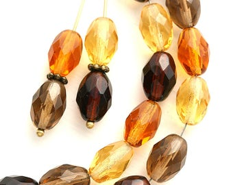 11x8mm Oval beads mix in Topaz, Amber Yellow, Brown, olive shaped beads, czech glass fire polished beads - 20Pc - 1416