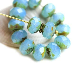 6x8mm Opal Blue rondelle beads, Picasso Rondel czech glass beads, gemstone cut, fire polished - 12Pc - 1864