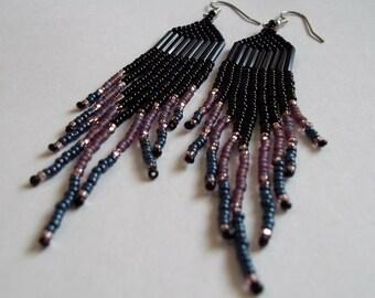 Black purple blue, seed bead earrings, long fringe earrings, statement earrings, boho earrings, colorful earrings, bold earrings, metallic