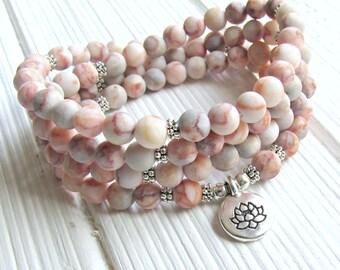 Prayer beads, 108 beads, Red Veined Jasper, Mala Bracelet or Necklace, Buddhist Rosary,Prayer beads, Gemstone, Mala, Lotus, buddha, ohm, om