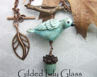 Copper Green Bird Pendant with Acorn Dangle, Torchwork Glass Jewelry Handcrafted in North Carolina