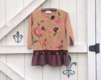 Cardigan sweater XS-S silk nylon floral, embroidered sweater Upcycled