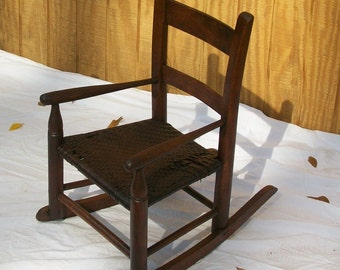 Antique Child's Rocker with Woven Seat