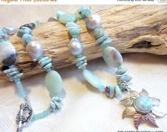 Holiday Sale Larimar necklace, larimar, sterling silver, silver necklace, amazonite, pearl necklace