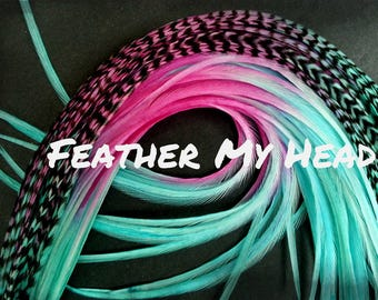 "Feather Hair Extensions - Multi Color Long 9""-12"" (23-30cm) - 5 Pc Pixie Dust - Pink - Aqua"