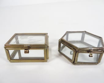 Vintage Pair of Small Glass Brass Box