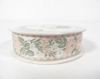 Vintage Pink Green Satin Ribbon - 9 1/2 Yards Woven Ribbon