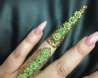 Peridot Full finger 2 piece ring set.
