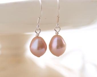 Pink freshwater pearl sterling silver earrings