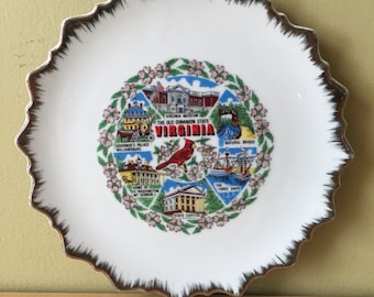 Vintage Virginia Decorative Plate Virginia is for Lovers Cardinal Magnolias South Southern State Plate