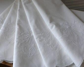 SALE White on White Pillowcases Embroidered Vintage set of 5 standard cotton pillowcases
