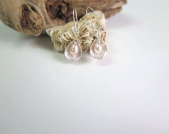 Silver Pearl Earring, Pearl Dangle Earring, White Silver Earring, Bridesmaid Pearl Silver Earring, Drop Silver Pearl Earring, Pearl Gift