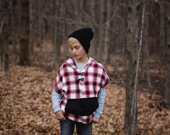 Boy clothes-Boy Hoodie-Spring Boyt-hipster boy-Boy plaid-Boy shirt-Toddler Boy shirt-pullover-plaid shirt-plaid pullover-poncho-plaid poncho