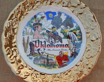 """Oklahoma State Souvenir Plate  ~  Mid Century Collectors Plate  ~  22K Gold 9"""" Plate by Crown O Gold Made in USA"""