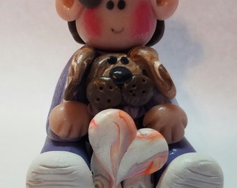 Valentine's day monkey boy with puppy, with heart, heart that can be personalized, Polymer Clay  boy, polymer clay, Valentines gift,