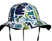 Baby Boy Sun Hat, Summer Hat, Toddler SunHat, Newborn Hat, Cotton Beach Pool Hat, Summer Hat, Floppy Hat, Blue Jungle Animals, Made To Order