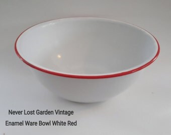 Large Bowl Enamel Ware White and Red Vintage