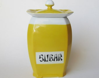 Vintage Czech Victoria China Porcelain Art Deco Sugar Canister Jar & Lid