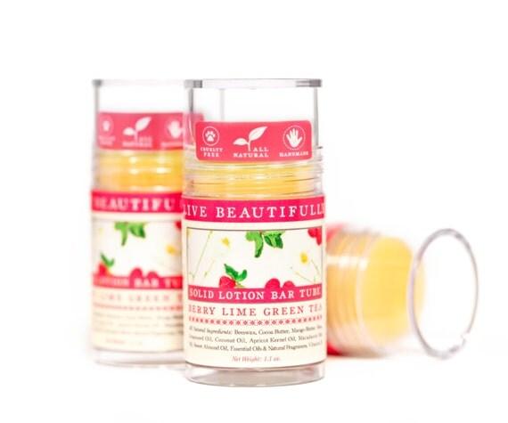 Berry Lime Green Tea Lotion Bar - Sparkling Green Tea, Sweet Raspberry, Tart Lime - All Natural Lotion Bar Tube