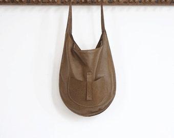 The Versailles- Leather Hobo Shoulder Bag- Moss